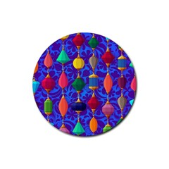 Colorful Background Stones Jewels Rubber Round Coaster (4 Pack)
