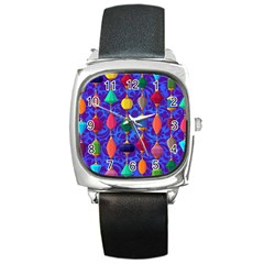 Colorful Background Stones Jewels Square Metal Watch