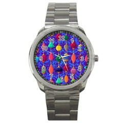 Colorful Background Stones Jewels Sport Metal Watch