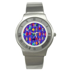 Colorful Background Stones Jewels Stainless Steel Watch