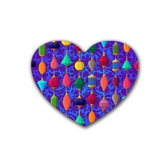 Colorful Background Stones Jewels Heart Coaster (4 Pack)