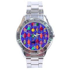 Colorful Background Stones Jewels Stainless Steel Analogue Watch