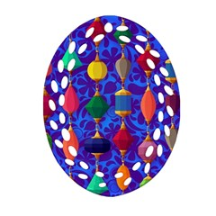 Colorful Background Stones Jewels Oval Filigree Ornament (two Sides)