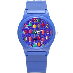Colorful Background Stones Jewels Round Plastic Sport Watch (s)