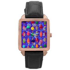 Colorful Background Stones Jewels Rose Gold Leather Watch