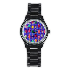 Colorful Background Stones Jewels Stainless Steel Round Watch