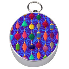 Colorful Background Stones Jewels Silver Compasses