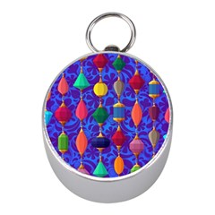 Colorful Background Stones Jewels Mini Silver Compasses