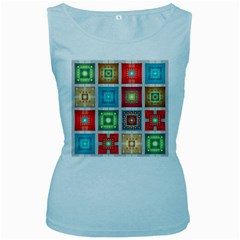 Tiles Pattern Background Colorful Women s Baby Blue Tank Top