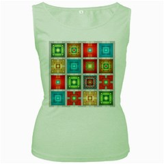 Tiles Pattern Background Colorful Women s Green Tank Top