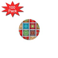 Tiles Pattern Background Colorful 1  Mini Buttons (100 Pack)
