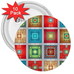 Tiles Pattern Background Colorful 3  Buttons (10 Pack)