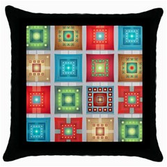 Tiles Pattern Background Colorful Throw Pillow Case (black)