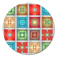 Tiles Pattern Background Colorful Magnet 5  (round)