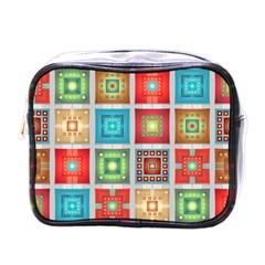 Tiles Pattern Background Colorful Mini Toiletries Bags