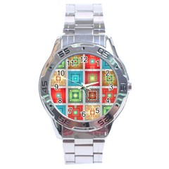 Tiles Pattern Background Colorful Stainless Steel Analogue Watch