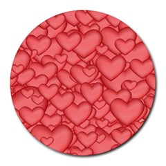 Background Hearts Love Round Mousepads
