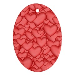 Background Hearts Love Ornament (oval)