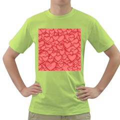 Background Hearts Love Green T Shirt