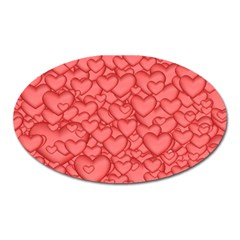 Background Hearts Love Oval Magnet
