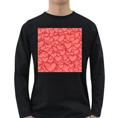 Background Hearts Love Long Sleeve Dark T Shirts