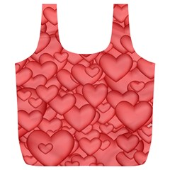 Background Hearts Love Full Print Recycle Bags (l)