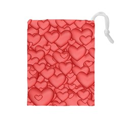 Background Hearts Love Drawstring Pouches (large)