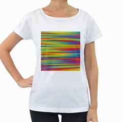Colorful Background Women s Loose Fit T Shirt (white)