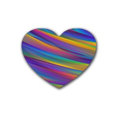Colorful Background Rubber Coaster (heart)