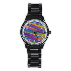 Colorful Background Stainless Steel Round Watch