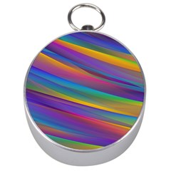 Colorful Background Silver Compasses