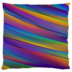 Colorful Background Large Flano Cushion Case (one Side)