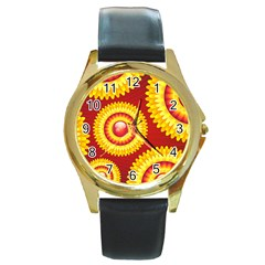 Floral Abstract Background Texture Round Gold Metal Watch
