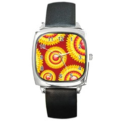 Floral Abstract Background Texture Square Metal Watch