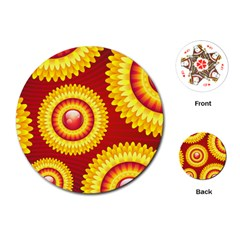 Floral Abstract Background Texture Playing Cards (round)