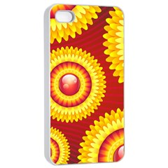 Floral Abstract Background Texture Apple Iphone 4/4s Seamless Case (white)