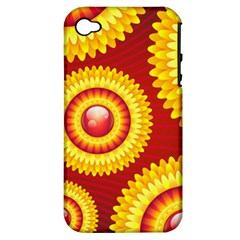 Floral Abstract Background Texture Apple Iphone 4/4s Hardshell Case (pc+silicone)