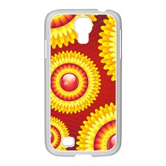 Floral Abstract Background Texture Samsung Galaxy S4 I9500/ I9505 Case (white)