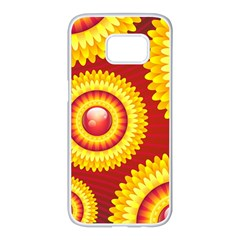 Floral Abstract Background Texture Samsung Galaxy S7 Edge White Seamless Case