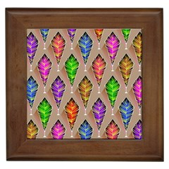 Abstract Background Colorful Leaves Framed Tiles