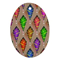 Abstract Background Colorful Leaves Ornament (oval)
