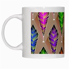 Abstract Background Colorful Leaves White Mugs