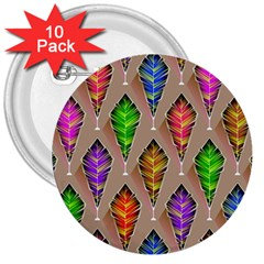 Abstract Background Colorful Leaves 3  Buttons (10 Pack)