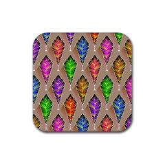Abstract Background Colorful Leaves Rubber Coaster (square)