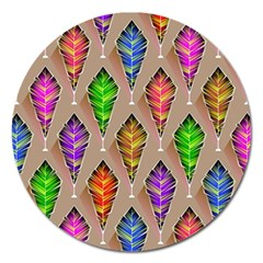 Abstract Background Colorful Leaves Magnet 5  (round)