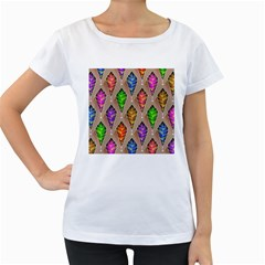 Abstract Background Colorful Leaves Women s Loose Fit T Shirt (white)
