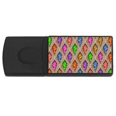 Abstract Background Colorful Leaves Rectangular Usb Flash Drive