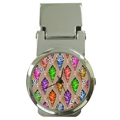 Abstract Background Colorful Leaves Money Clip Watches