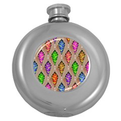 Abstract Background Colorful Leaves Round Hip Flask (5 Oz)