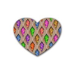 Abstract Background Colorful Leaves Rubber Coaster (heart)